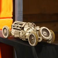 乌克兰ugears木质机械传动立体拼装模型手工diy玩具成人创意实用生日礼物情人节送男女友 赛车
