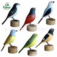 厂家定制手工雕刻木质鸟家居装饰木雕鸟摆件现代客厅电视柜鸟摆件