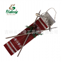 厂家定制创意家居木制圣诞滑雪板墙壁挂饰木制装饰雪橇挂板