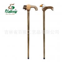 厂家定制木质工艺品户外登山实木拐杖手工雕刻动物扶手老人手杖