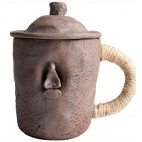 陶迷手工捏制马克杯创意绑绳日式办公杯大容量陶瓷带盖勺子茶水杯