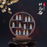 松花石鎏金十二生肖印章